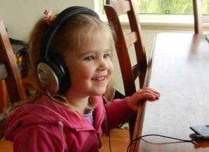"Eliza listening to my ""music-phone"""