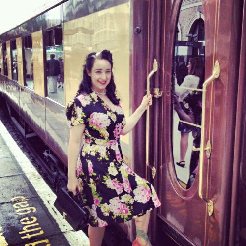 Helen boarding the Orient Express to Brighton