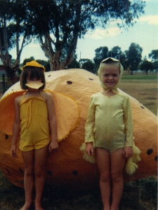 Easter many years ago (I'm the chick on the left with brown hair)