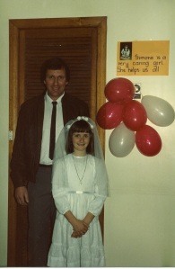My father and me ... ready for my first communion (I didn't realise that was the only time in my life I'd be wearing a wedding dress ...)
