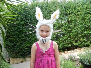 My niece, Emily, in her bunny mask