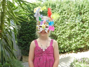 Emily in her Easter mask